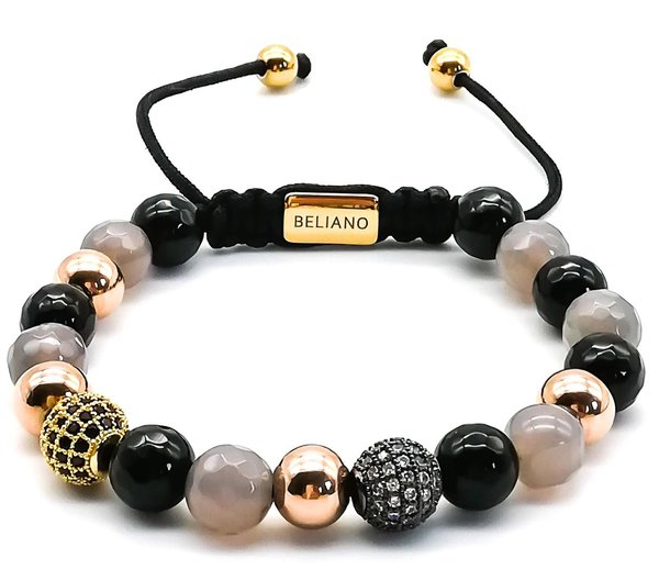 Armband - Onyx - Quarz - Gold - CZ Diamonds