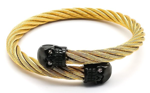 Gold Bangle - Black Skull