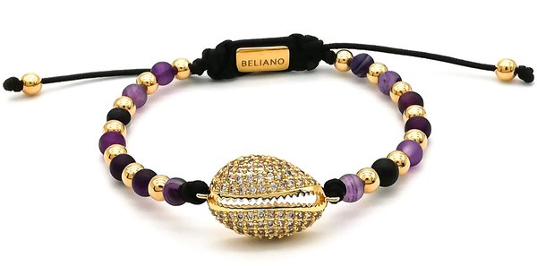 Armband Heart Of The Ocean 24K Gold - Shell - Amethyst - Diamonds