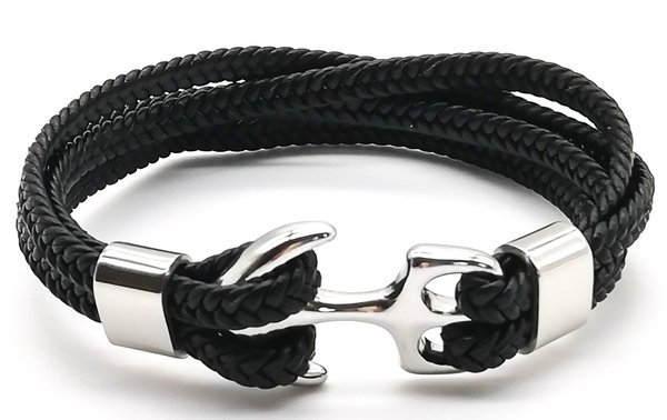 Lederarmband - Sailor Anchor Silver