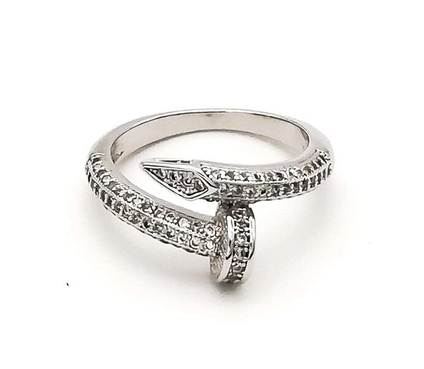 Nail Ring - Silber & CZ Diamonds