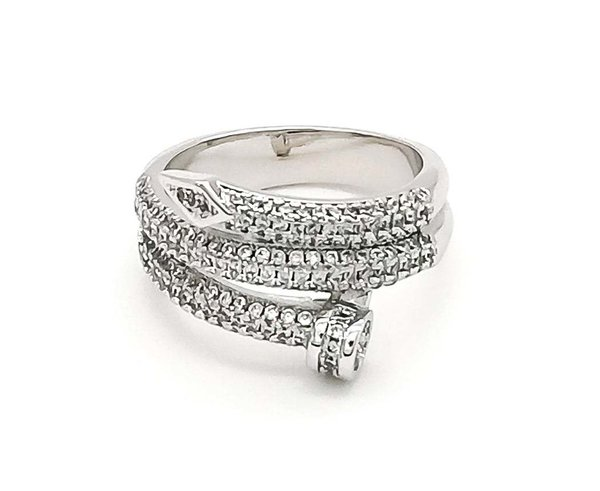 Double Nail Ring - Silber & CZ Diamonds