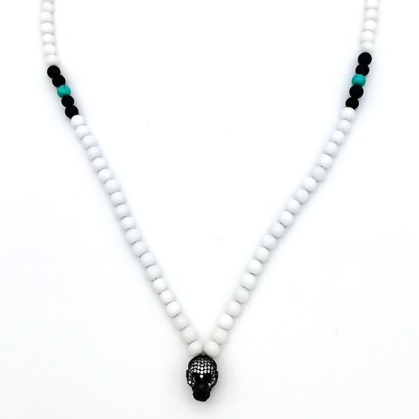 Halskette Totenkopf White Coral - CZ Diamonds